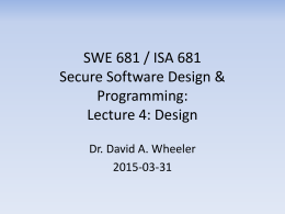 SWE 781 / ISA 681 Secure Software Design & …