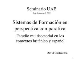 Sistemas Formativos en perspectiva comparativa