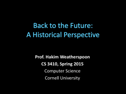 Back to the Future:A Historical Perspective