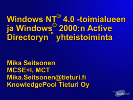 TNQ 101-03 NT 4.0 Domain And Windows 2000 Active …