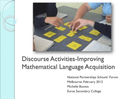 Discourse Activities-Improving mathematical language