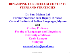 REVAMPING CURRICULUM CONTENT AND TEACHER …