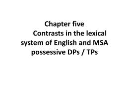 Chapter five Contrasts in the lexical system of English
