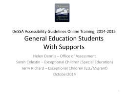 DeSSA Accessibility Guidelines 2014-15
