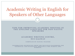 Academic Writing in English for Speakers of Other …