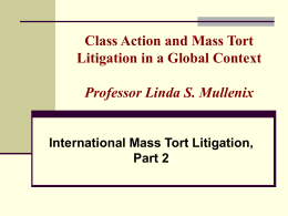 Class Action and Mass Tort Litigation in a Global Context
