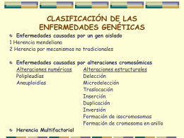 CLASIFICACION DE LAS ENFERMEDADES GENETICAS