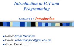 ICT & Prog - Lec_1 (Intro)