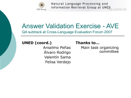 Answer Validation Exercise 2007