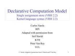 Declarative Computation Model