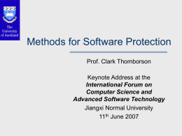 Technologies and Goals for Software Protection