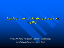 An Introduction to Database Access on the Web