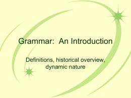 Grammar: An Introduction