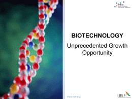 Biotechnology in India - India Knowledge Centre