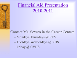 Applying for Financial Aid - Redlands East Valley High …