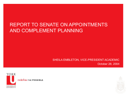 Report to Senate on Appointments and Complement …