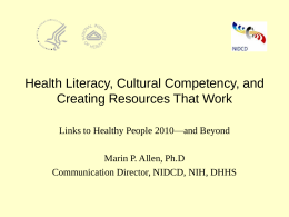 Health Literacy, Cultural Competency, and Creating
