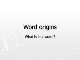 Word origins - Primary Resources