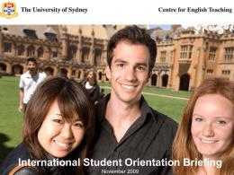 International Student Orientation Briefing