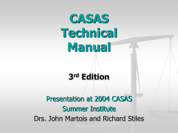 CASAS Technical Manual - CASAS Web Site
