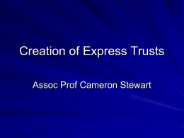 Creation of Express Trusts