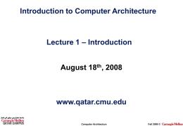 CSI/CCE Computer Architecture