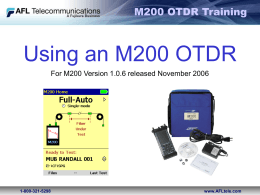 AFL - Using an M200 OTDR