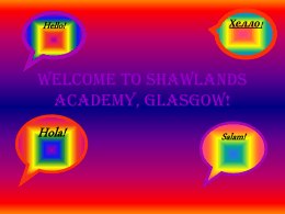 Welcome to Shawlands Academy, Glasgow!