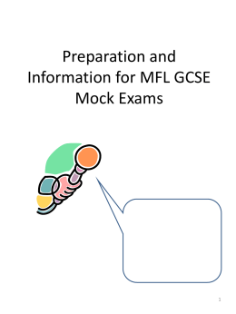 Preparation Booklet for GCSE Speaking Task