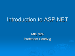 Introduction to ASP.NET
