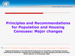The 2010 World Programme of Population and Housing