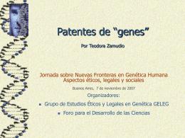 """Patentamiento de """"genes"""" Por Teodora Zamudio"""