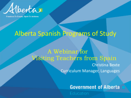 Alberta Spanish Programs of Study