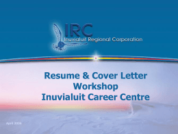 Resume Workshop - Inuvialuit Career Centre