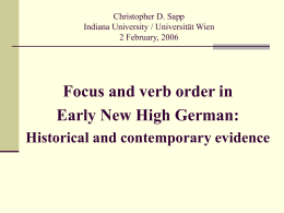 Verbal Complexes from Early New High German to …