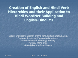 Creation of English and Hindi Verb Hierarchies and their
