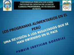 LOS PROGRAMAS ALIMENTARIOS EN EL PER&#218