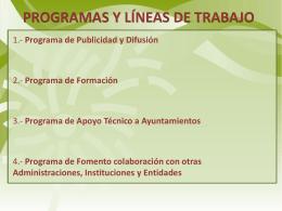PROGRAMAS Y LINEAS DE TRABAJO