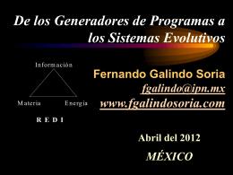De los Generadores de Programas a los Sistemas Evolutivos