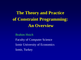 Constraint Satisfaction and Constraint Programming