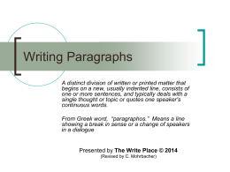 Writing Paragraphs - St. Cloud State University