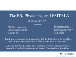 The ER, Physicians, and EMTALA