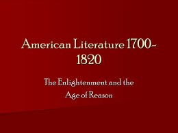 American Literature 1700-1820