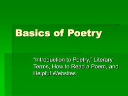 Basics of Poetry
