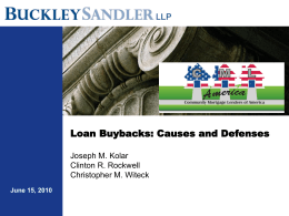 Loan Buybacks: Causes and Defenses Joseph M. Kolar …