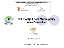 Mangaung Value Proposition - Sol Plaatje Local Municipality