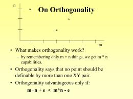 On Orthogonality - University of Virginia