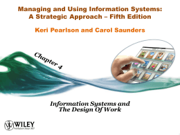 Chapter 3 - Strategic Use of Information Resources