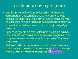 Instaliranje novih programa