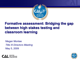 Formative assessment: bridging the gap between high …